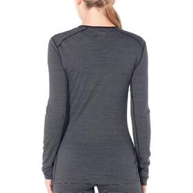 Icebreaker W's 200 Oasis LS Crewe Shirt Black/Snow/Stripe